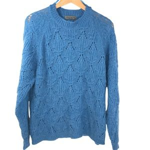 Elsamanda Made in Italy Mohair Crew Neck Pointelle Sweater Blue Pullover